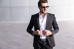 Male businessman or worker in black suit royalty free stock photography