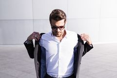 Male businessman or worker in black suit royalty free stock photo