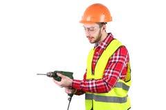 Male byggnadsarbetare Tekniker för kompetent arbetare bakgrund isolerad white Royaltyfri Foto