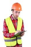 Male byggnadsarbetare Tekniker för kompetent arbetare bakgrund isolerad white Arkivbilder