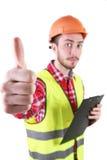Male byggnadsarbetare Tekniker för kompetent arbetare bakgrund isolerad white Royaltyfri Fotografi