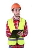 Male byggnadsarbetare Tekniker för kompetent arbetare bakgrund isolerad white Arkivbild