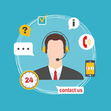 Male call center avatar icon with service icons. Royalty Free Stock Photo