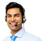 Male Call Center Representative Wearing Headset Stock Image