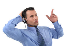 Male call center worker. Is good at his job Royalty Free Stock Photo
