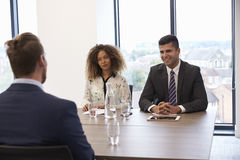 Male Candidate Being Interviewed For Position In Office Royalty Free Stock Images