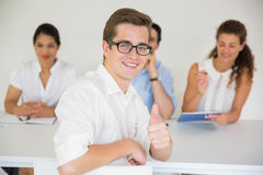 Male candidate gesturing thumbs up Stock Photos