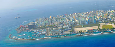 Male the capital of Maldives. From sky view Royalty Free Stock Images