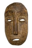 Male Carnival Mask w/ Path. Archaic wooden carnival mask isolated against white. File contains clipping path Stock Image