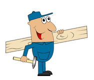 Male carpenter with a Board and hammer in hand. Vector illustration Stock Photo