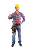 Male Carpenter Gesturing Thumbs Up. On the white background. Isolated on white royalty free stock images