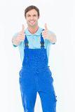 Male carpenter showing thumbs up Royalty Free Stock Photography