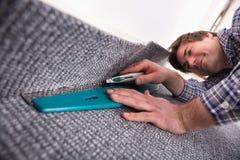 Carpet Fitter Installing Carpet