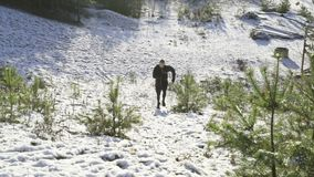 Male caucasian swedish professional boxer running outdoor in nature. stock video