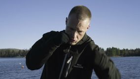 Male caucasian swedish professional boxer training outdoor in nature stock footage
