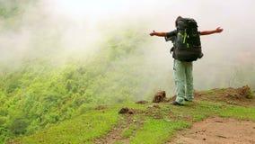 Male caucasian tourist trekking walking at himalayan mountains, Nepal stock video footage