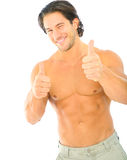 Male Caucasian Wink And Give Thumbs Up. Topless young caucasian man give thumb up and a wink to viewer Royalty Free Stock Photography