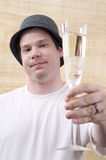 Male Celebrating with Champagne Stock Photo