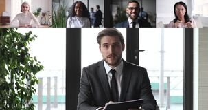 Male ceo video conference calling diverse corporate team people