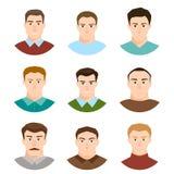 Male character face avatars. flat style people set. vector illustration