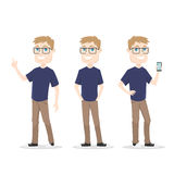 Male character IT guy smart and nerd for video animation Royalty Free Stock Image