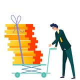 Male character pushes cargo trolley cartoon vector. Company worker, man in formal suit carrying push cart with cargo or office documents tied up with rope vector illustration