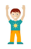 Male Character in T-shirt with Sun, Yellow Trouses. Male character in t-shirt with sun and yellow trousers with hands up isolated on white in flat design. Man Stock Photo