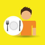 Male character traveler restaurant meal icon Royalty Free Stock Photography