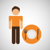 Male character traveler restaurant meal icon Stock Photos