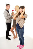 Male cheating girl. Male cheating his girlfriend Royalty Free Stock Image