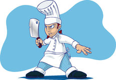 Male chef. Angling on chopping off the fat Royalty Free Stock Image