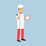 Male chef cook character in uniform standing and holding recipe book and spoon  Illustration. On a light blue background Royalty Free Stock Images