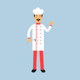 Male chef cook character in uniform standing with ladle and showing hand gesture with a raised index finger Illustration royalty free illustration
