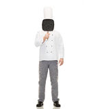 Male chef cook covering face with grill pan. Cooking, profession and people concept - male chef cook covering face or hiding behind grill pan Royalty Free Stock Photo