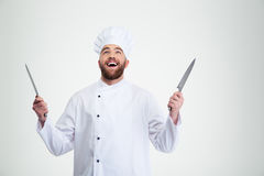 Male chef cook holding knife Royalty Free Stock Photos