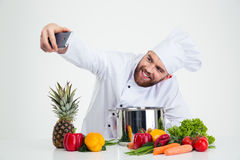 Male chef cook making selfie photo Royalty Free Stock Photography