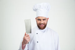 Male chef cook showing big knife cleaver Royalty Free Stock Image