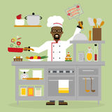 Male chef cooking. Royalty Free Stock Photos