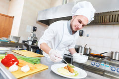 Male chef decorating food plate Stock Photography