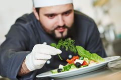 Male chef decorating salad food Stock Photography