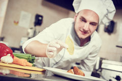 Male chef decorating salad food Royalty Free Stock Image