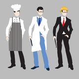 Male chef,doctor,architect set. Royalty Free Stock Image