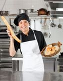 Male Chef Holding Bread Loaf Stock Photos