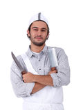 Male chef holding meat cleaver Royalty Free Stock Photography