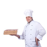 Male chef holding a pizza box Stock Photos