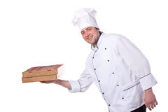 Male chef holding a pizza box Stock Images