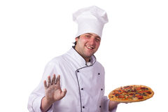 Male chef holding a pizza box Royalty Free Stock Images