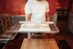 Chef holds metal baking sheet with apple strudel. Male chef holds metal baking sheet with classical apple strudel, bakery cooking. Homemade sweet dessert Royalty Free Stock Photo