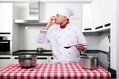 Male chef at kitchen Stock Photos