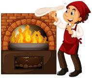 Male chef making pizza with stone oven Stock Photography
